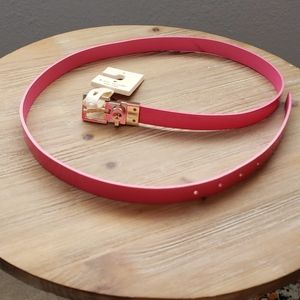 Kate Spade Reversible Pink Leather Skinny Belt